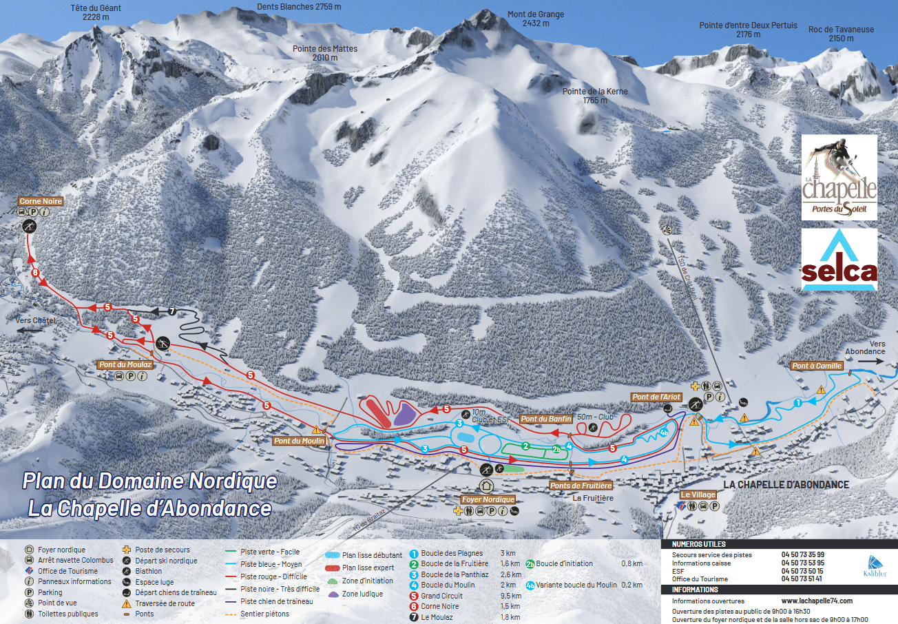 Chapelle d'Abondance - Plan du domaine nordique et son ski de fond
