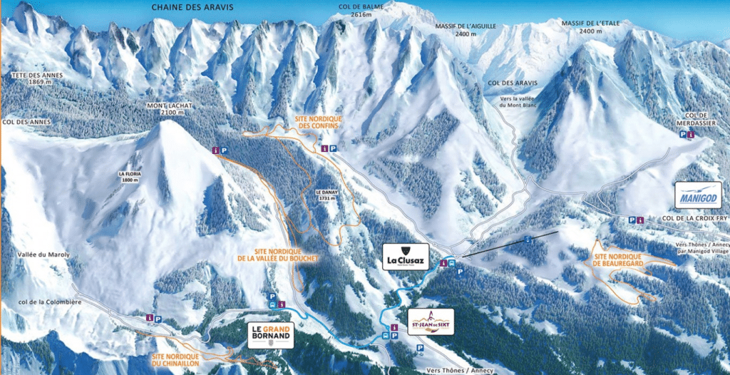 Aravis - Plan des pistes de ski de fond