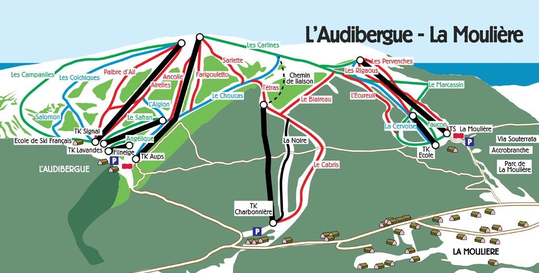 Audibergue - La Moulière - Plan des pistes de ski