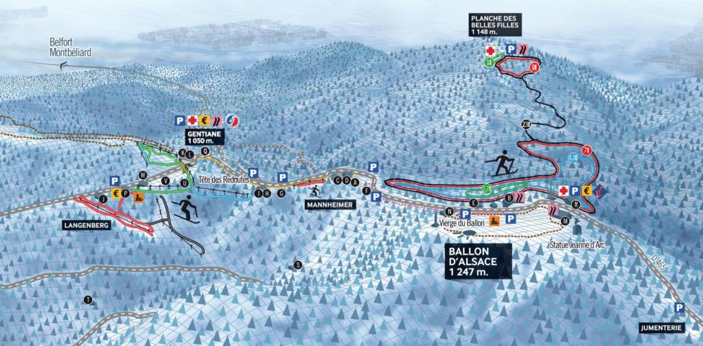 Ballon d'Alsace - Plan des piste de ski de fond