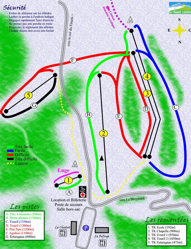 Bleymard - Mont Lozère - Plan des pistes de ski