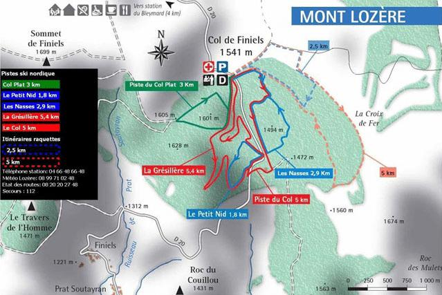 Bleymard - Mont Lozère - Plan du domaine nordique