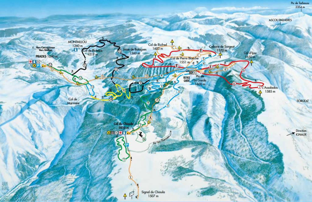 Chouilla - Plan des pistes de ski de fond
