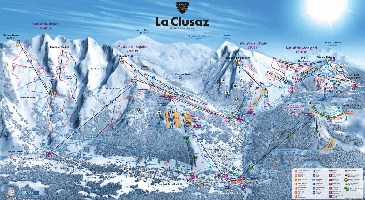 Clusaz - Plan des pistes de ski