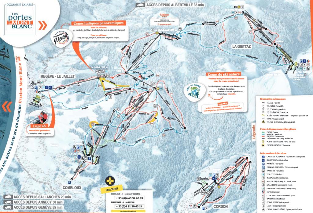 Combloux La Giettaz Plan des pistes de ski