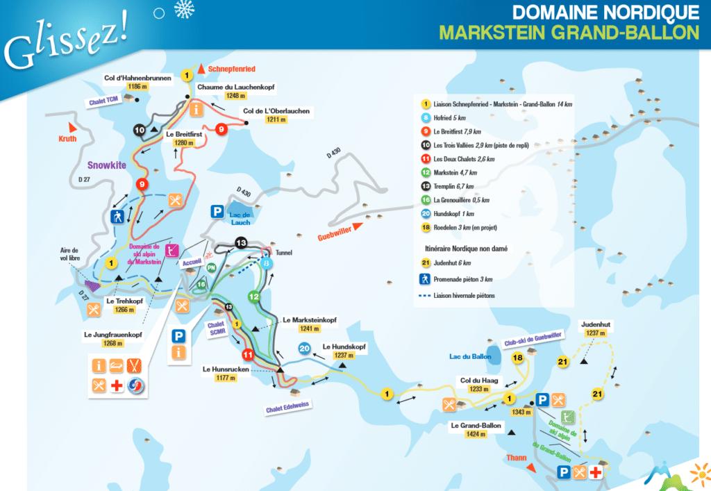 Domaine Nordique de Markstein Grand Ballon - Plan des pistes de ski de fond