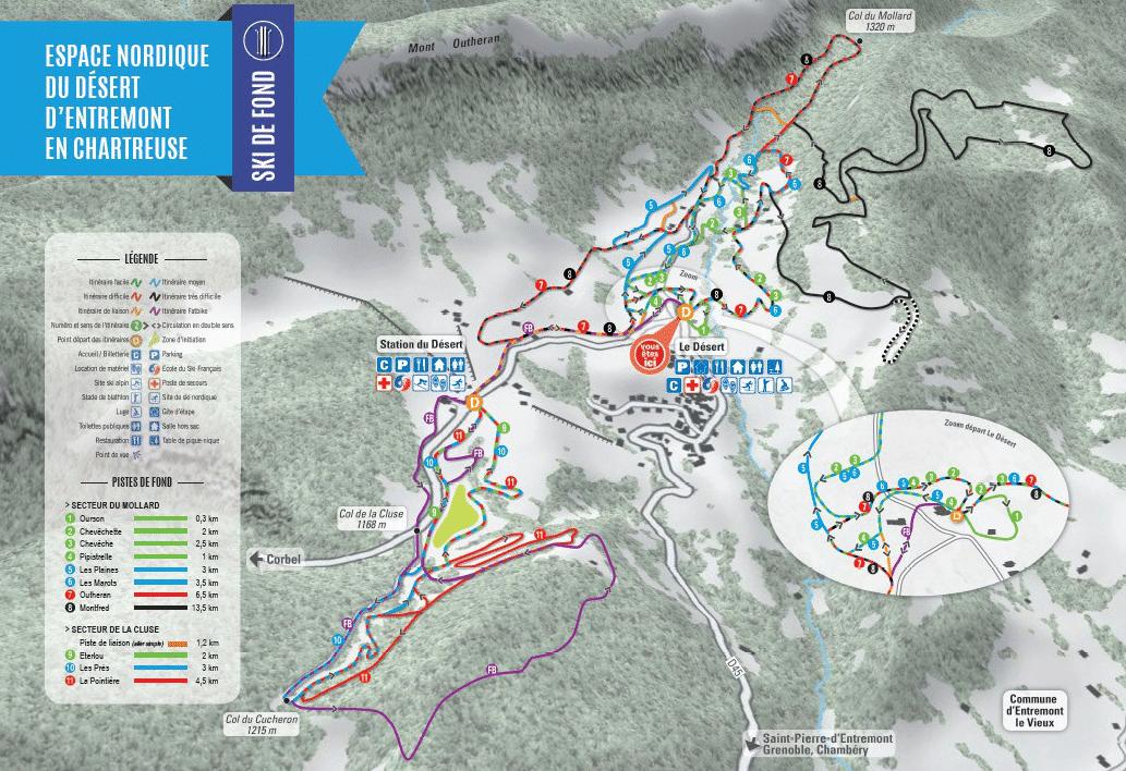Entremont - Plan des pistes de ski de fond dans le domaine nordique