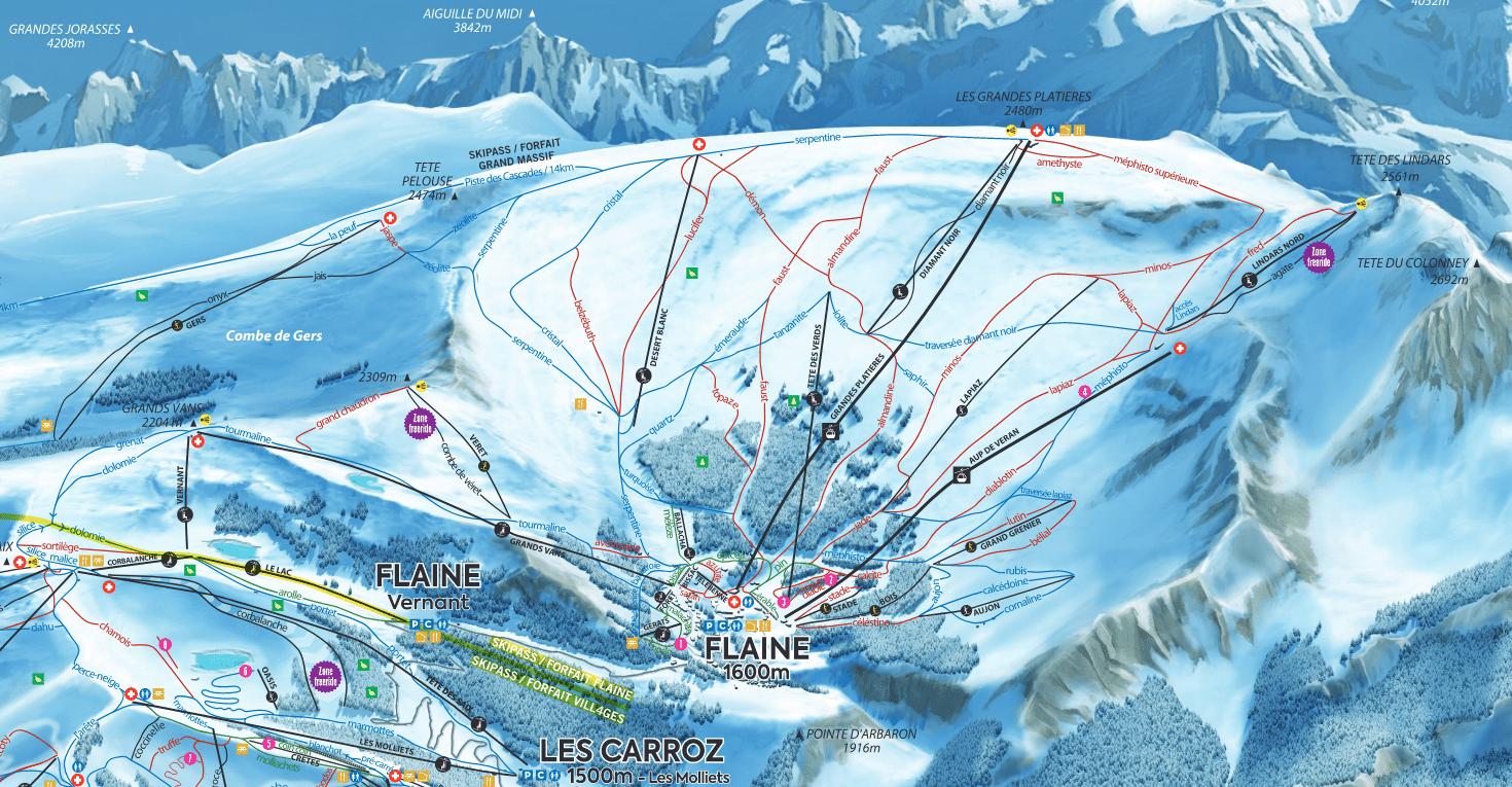 Flaine - Plan des Pistes de ski