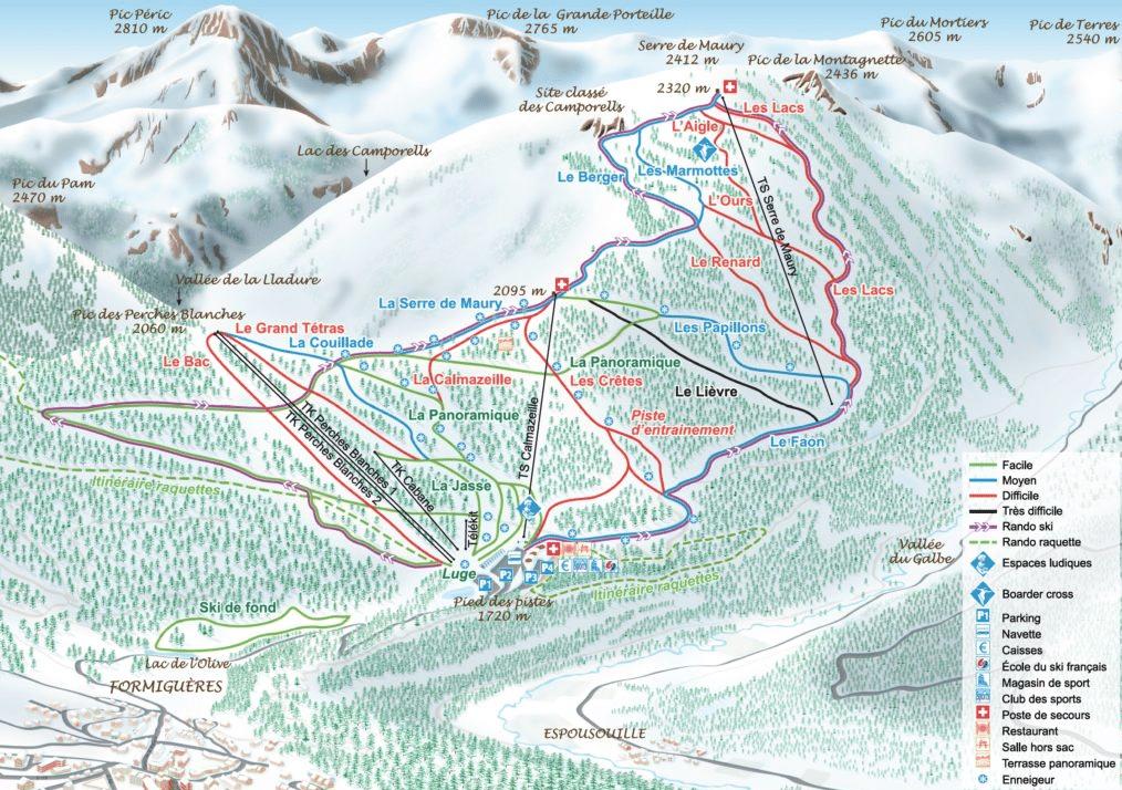 Formiguères - plan des pistes de ski