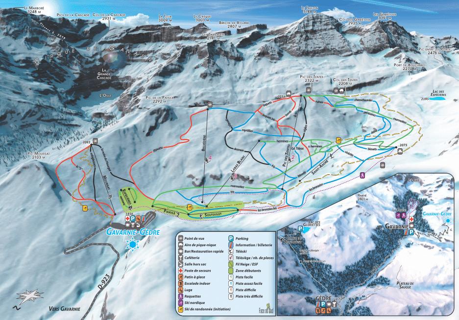 Gavarnie - Plan des pistes de ski