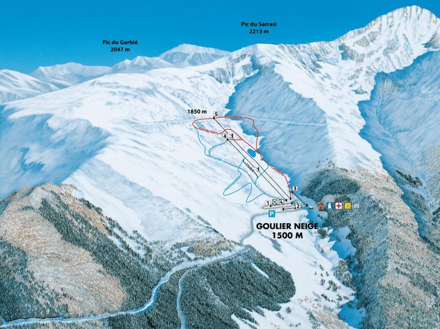 Goulier - Plan des pistes de ski