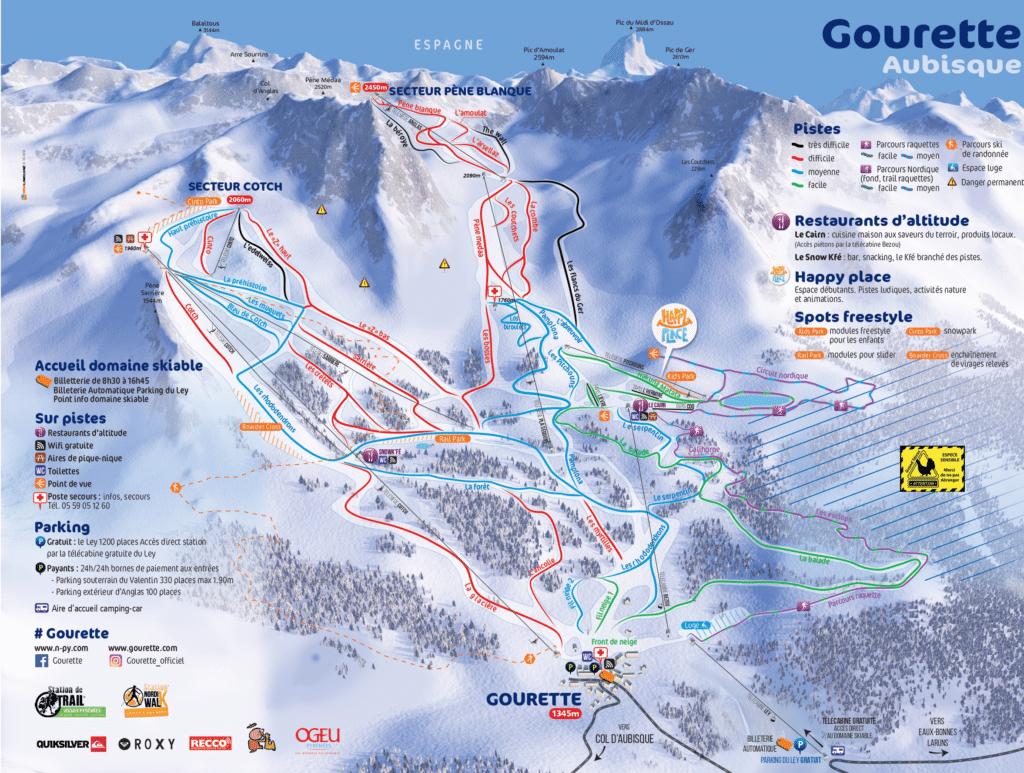 Gourette - Plan des pistes de ski