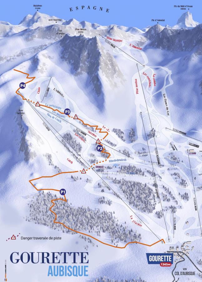 Gourette - Plan des pistes des skis de randonnées