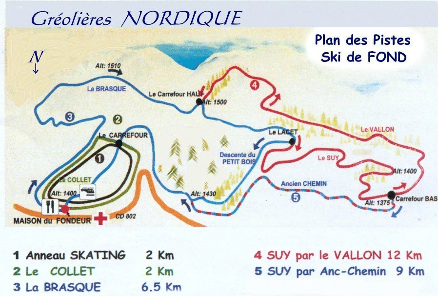 Greolieres - Plan des pistes de ski de fond
