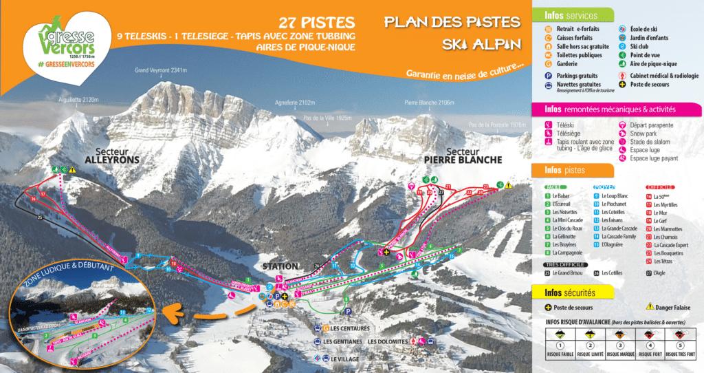 Gresse-en-Vercors - Plan des pistes de ski alpin