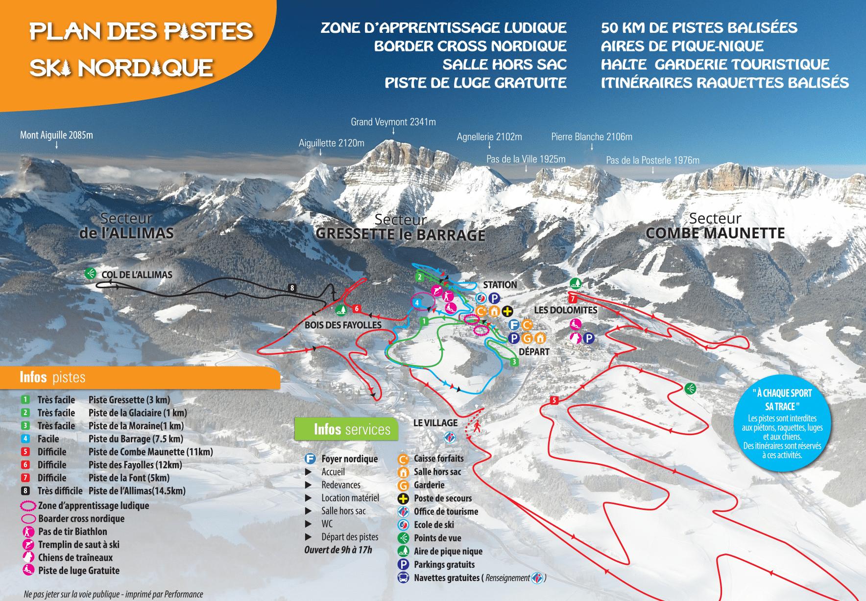 Gresse-en-Vercors - Plan des pistes de ski de fond (domaine nordique)