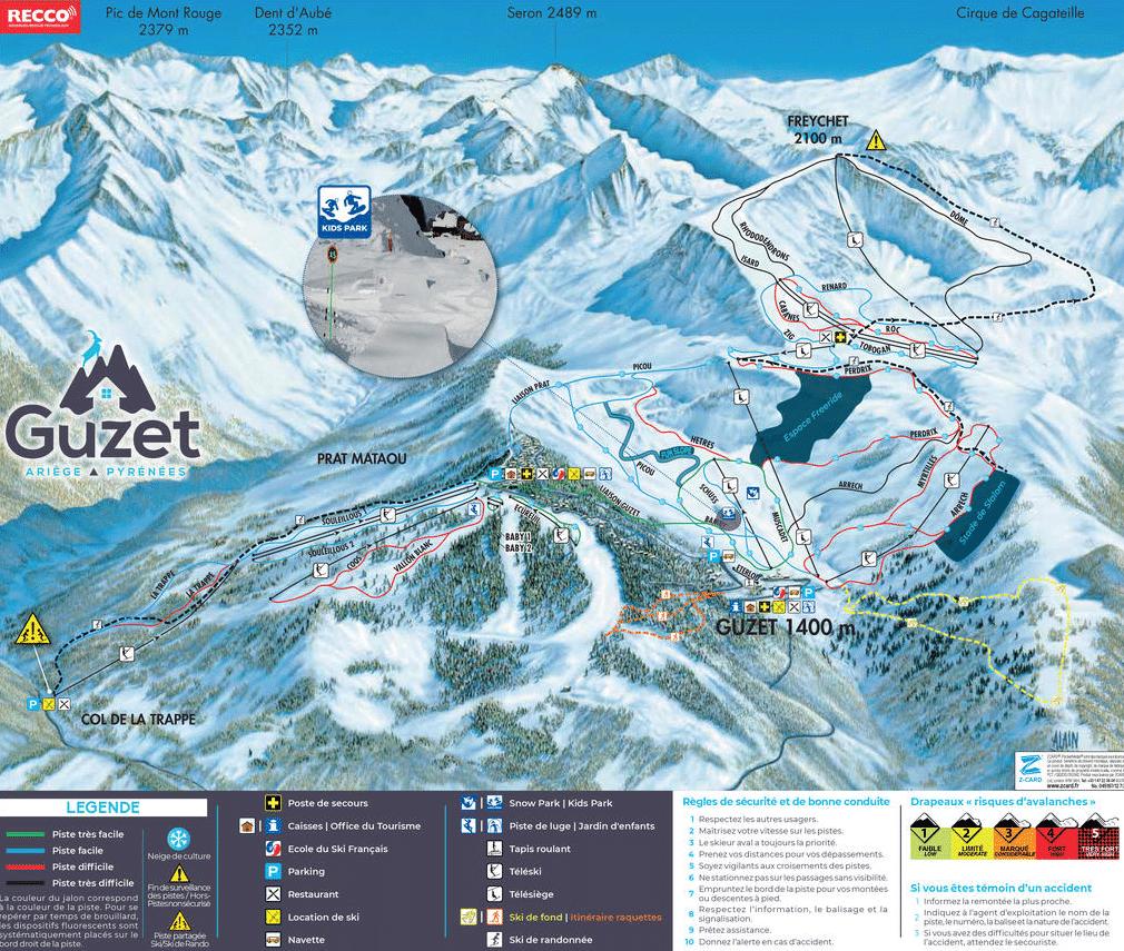 Guzet - plan des pistes de ski