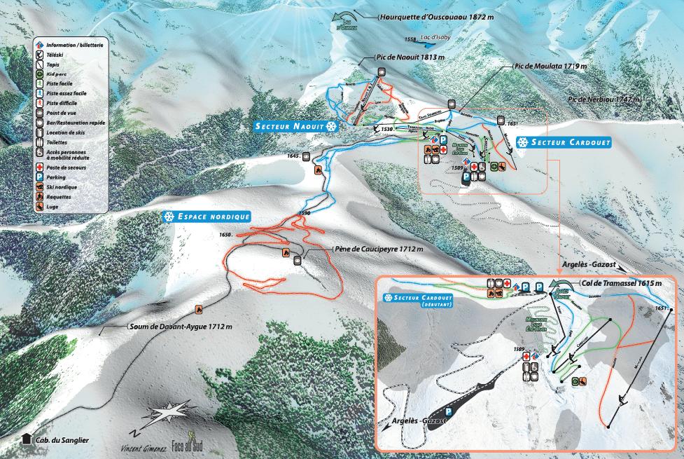 Hautacam - Plan des pistes de ski