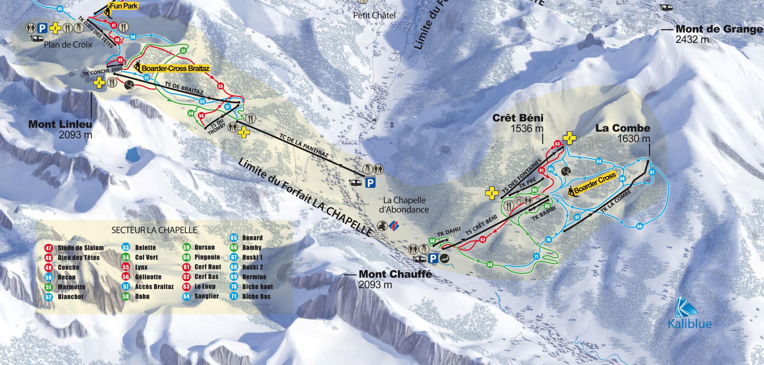 La Chapelle d'Abondance - Plan des pistes de ski