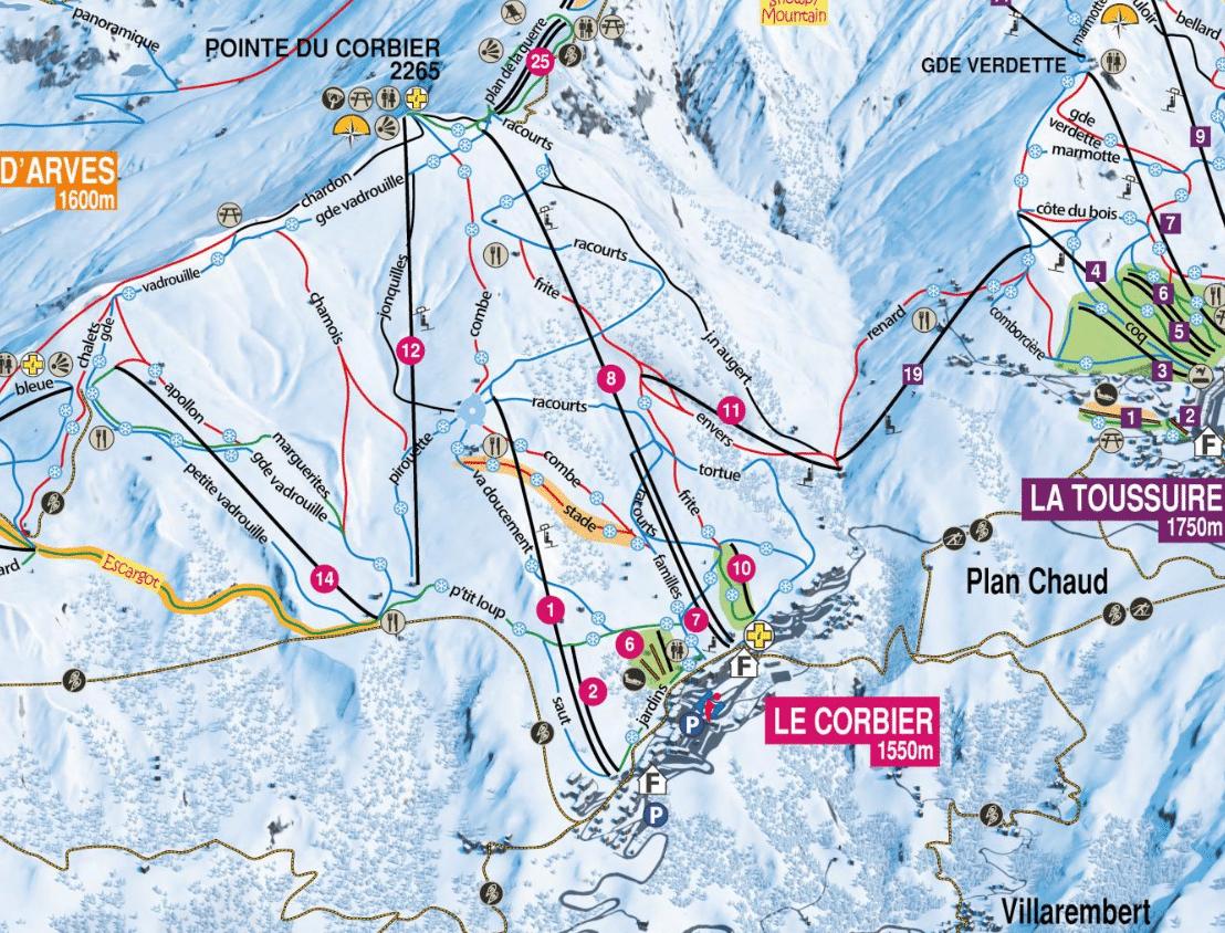 La Corbier - Plan des pistes de ski