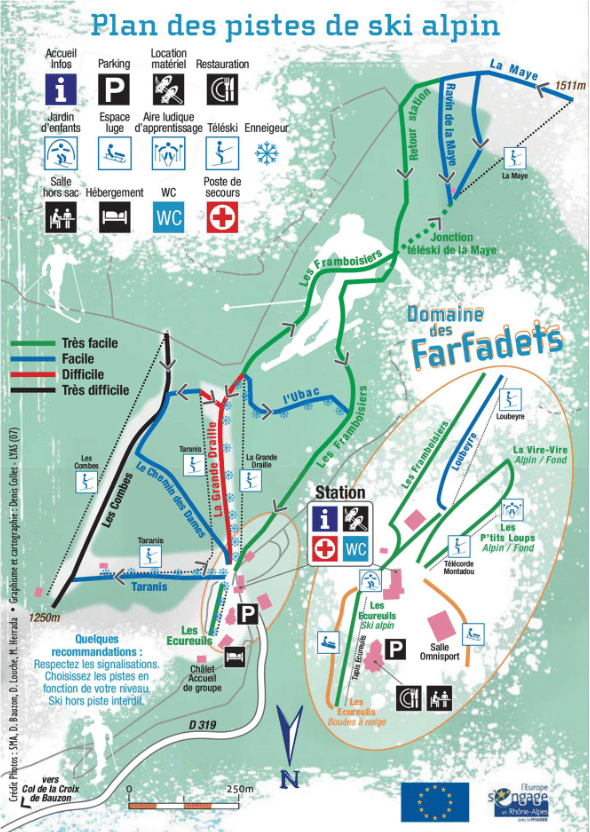 La Croix de Bauzon - Plan des pistes de ski