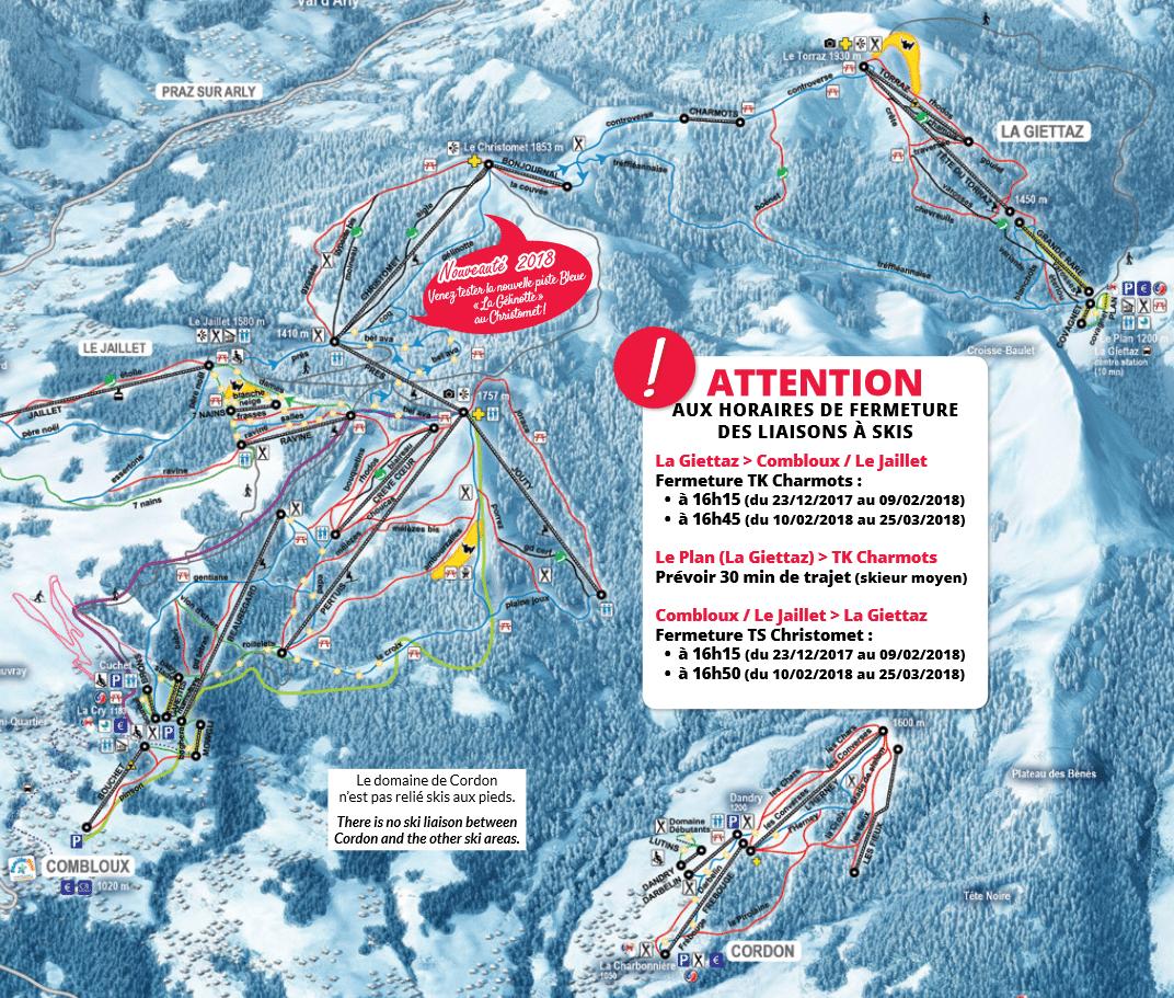 La Giettaz - Plan des pistes de ski