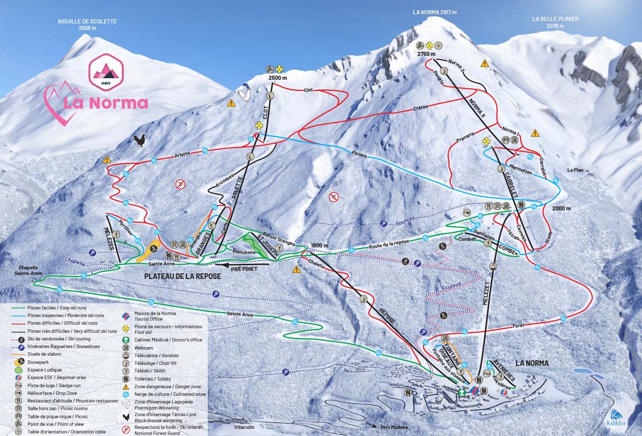 La Norma - Plan des pistes de ski