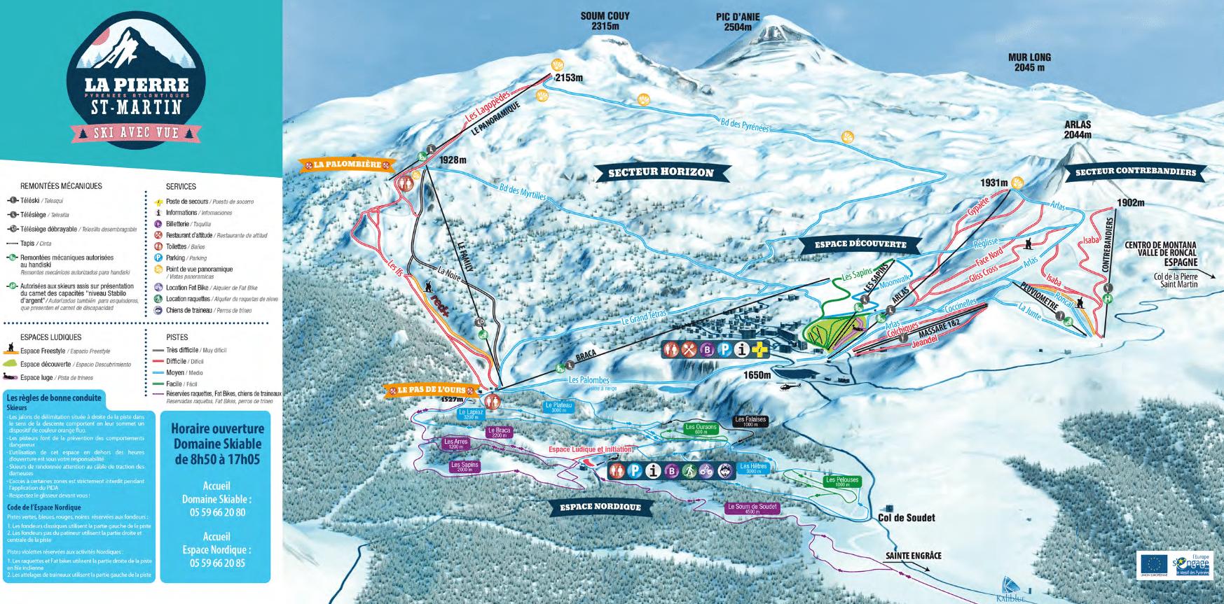 La Pierre Saint Martin - Plan des pistes de ski