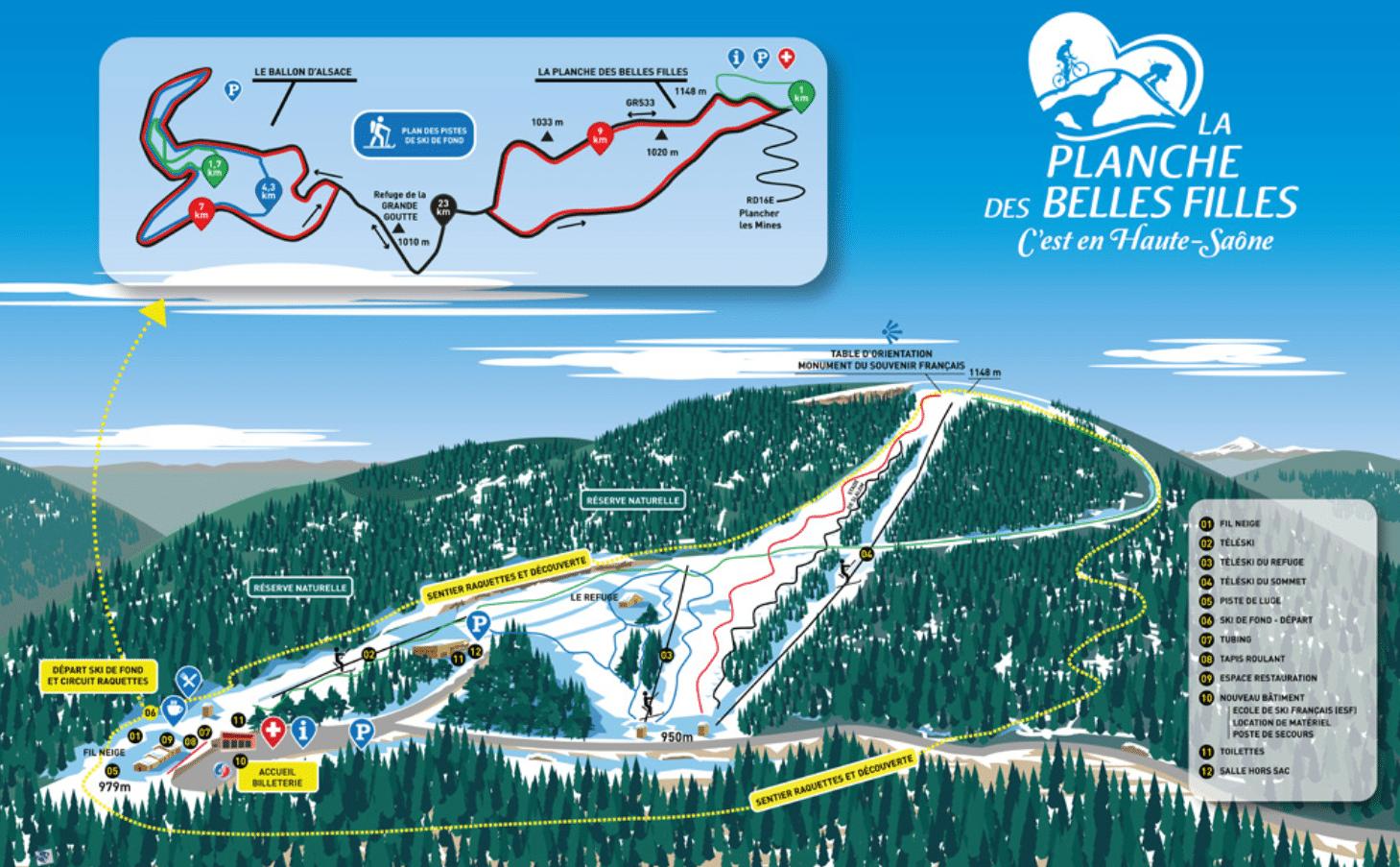 La Planche des belles filles - Plan des pistes de ski