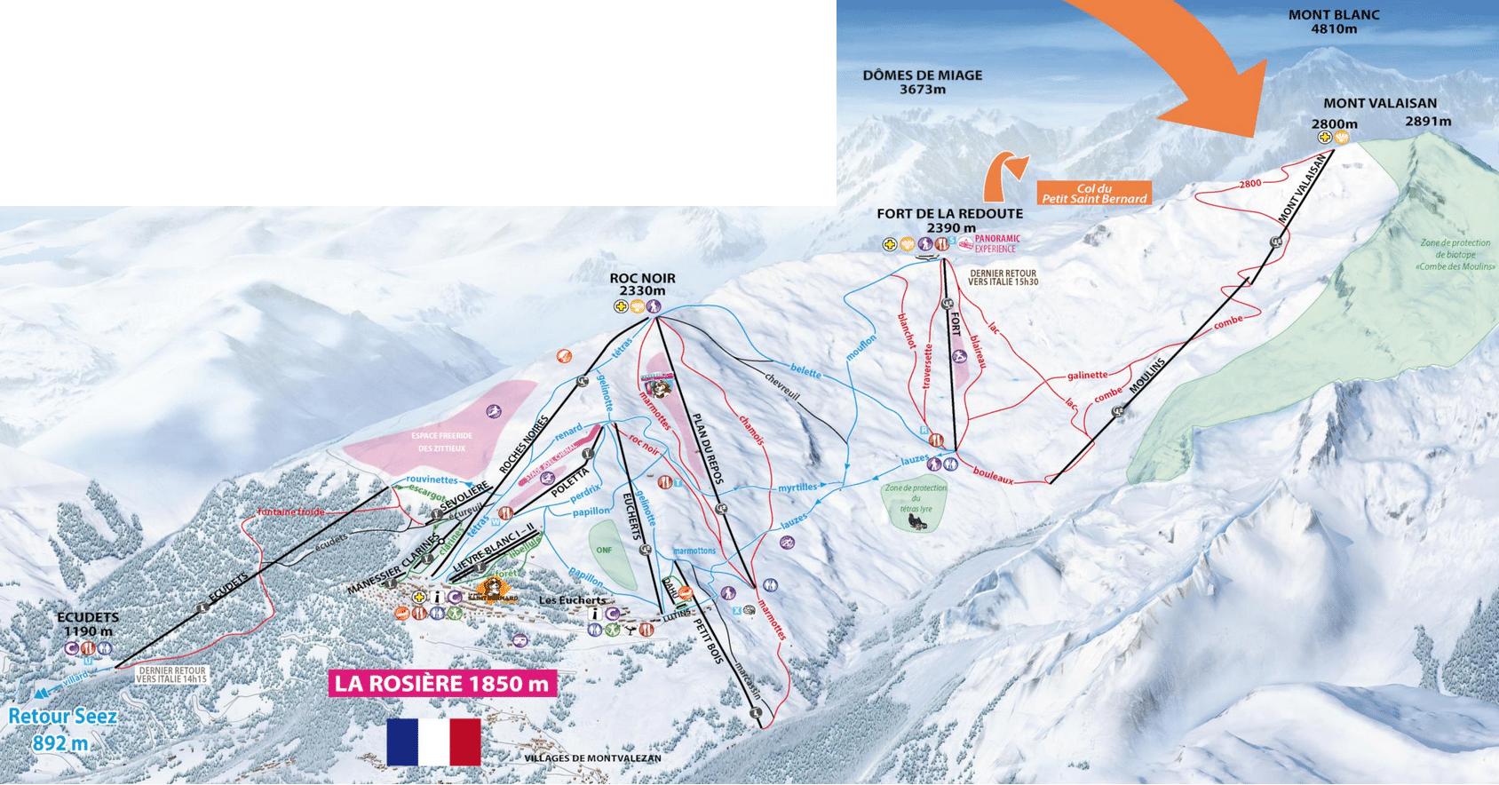 La Rosière 1850 - Plan des pistes de ski