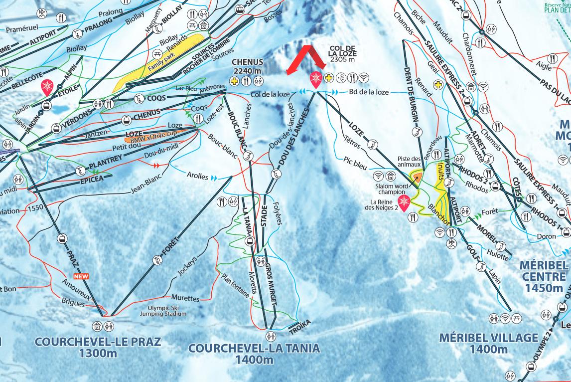 La Tania - Plan des pistes de ski