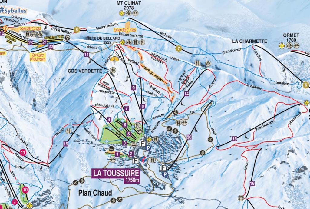 La Toussuire - Plan des pistes de ski