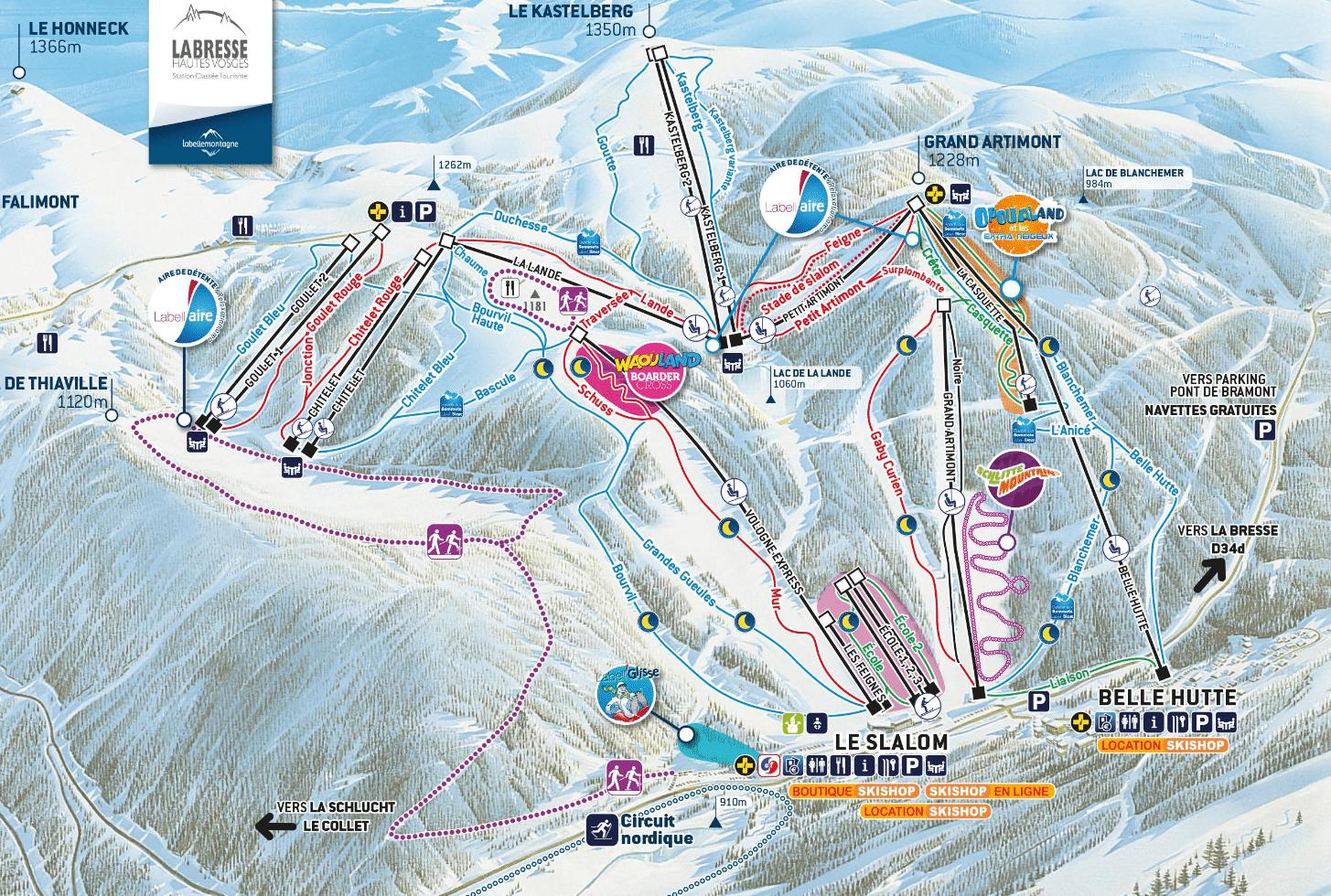 La bresse hohneck - Plan des pistes de ski