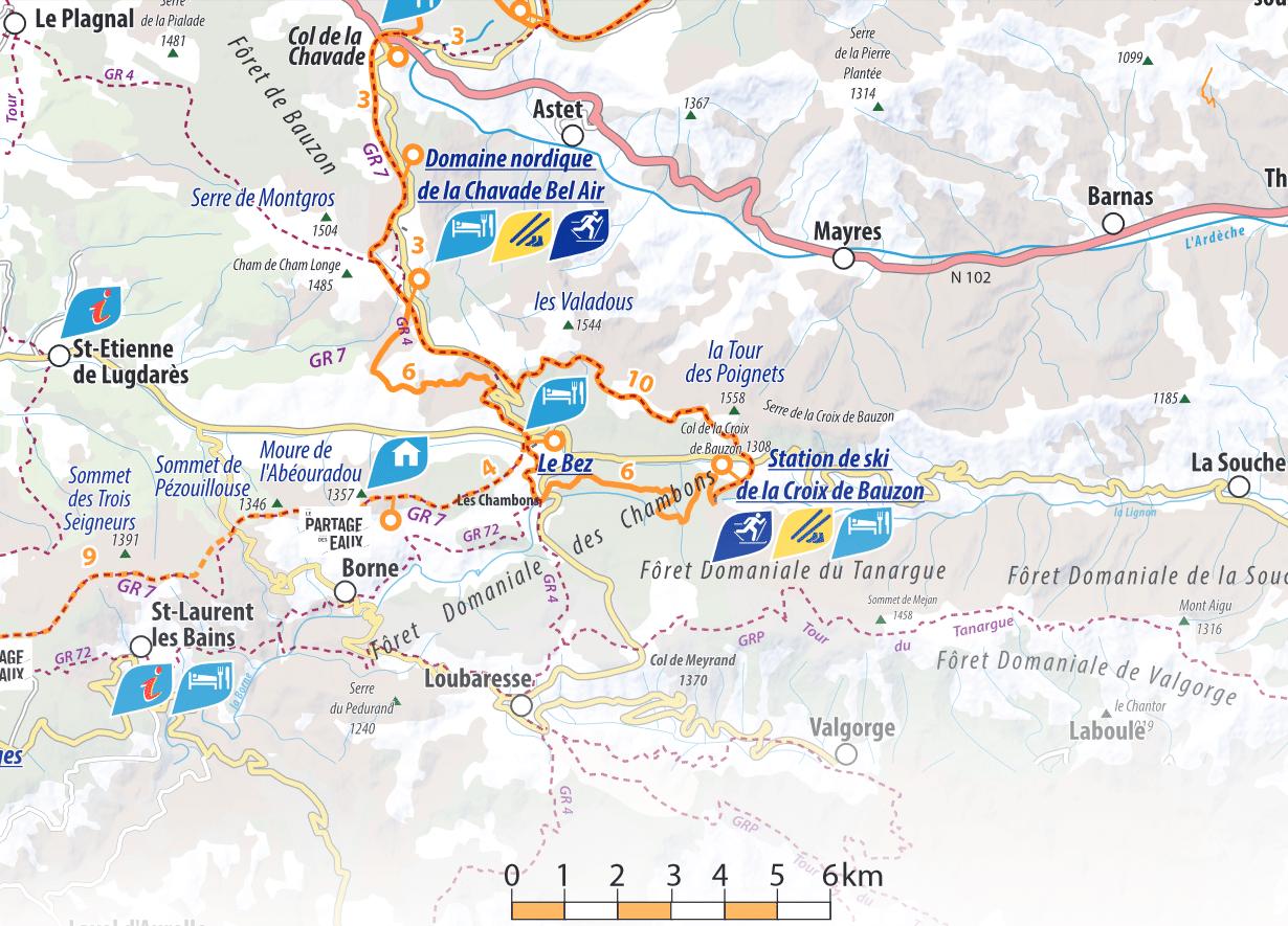 La Croix de Bauzon - Plan des pistes de ski de fond