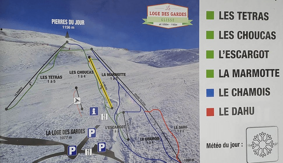 La loge des gardes - plan des pistes de ski