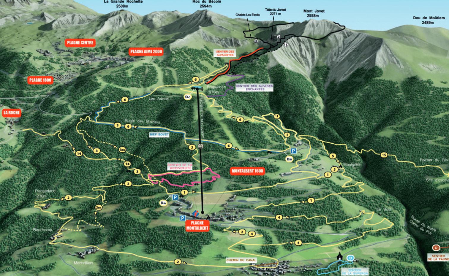 La plagne - Plan des chemins de randonnées