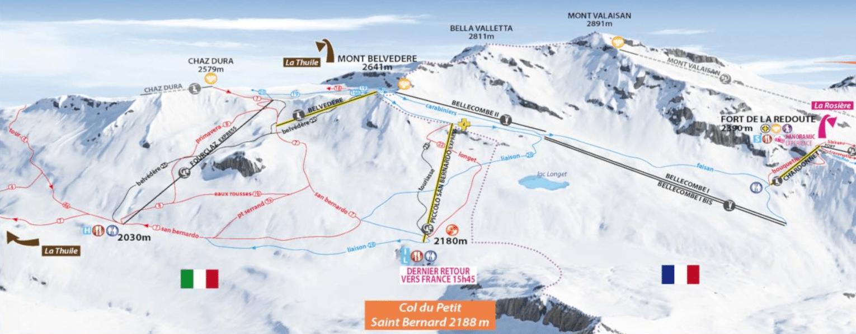 La rosière - Plan du domanie skiable, Col du Petit Saint Bernard