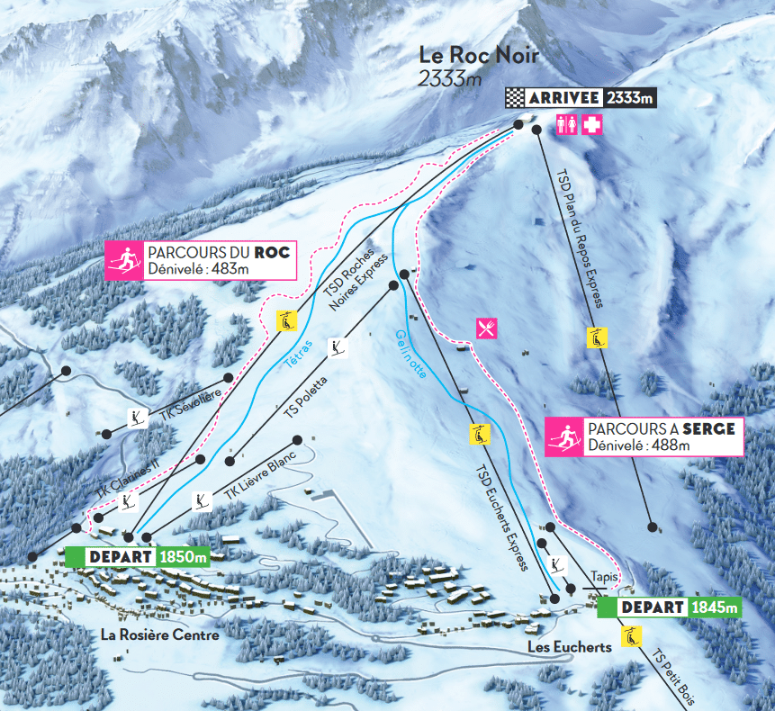 La Rosiere - Plan du ski de randonnées