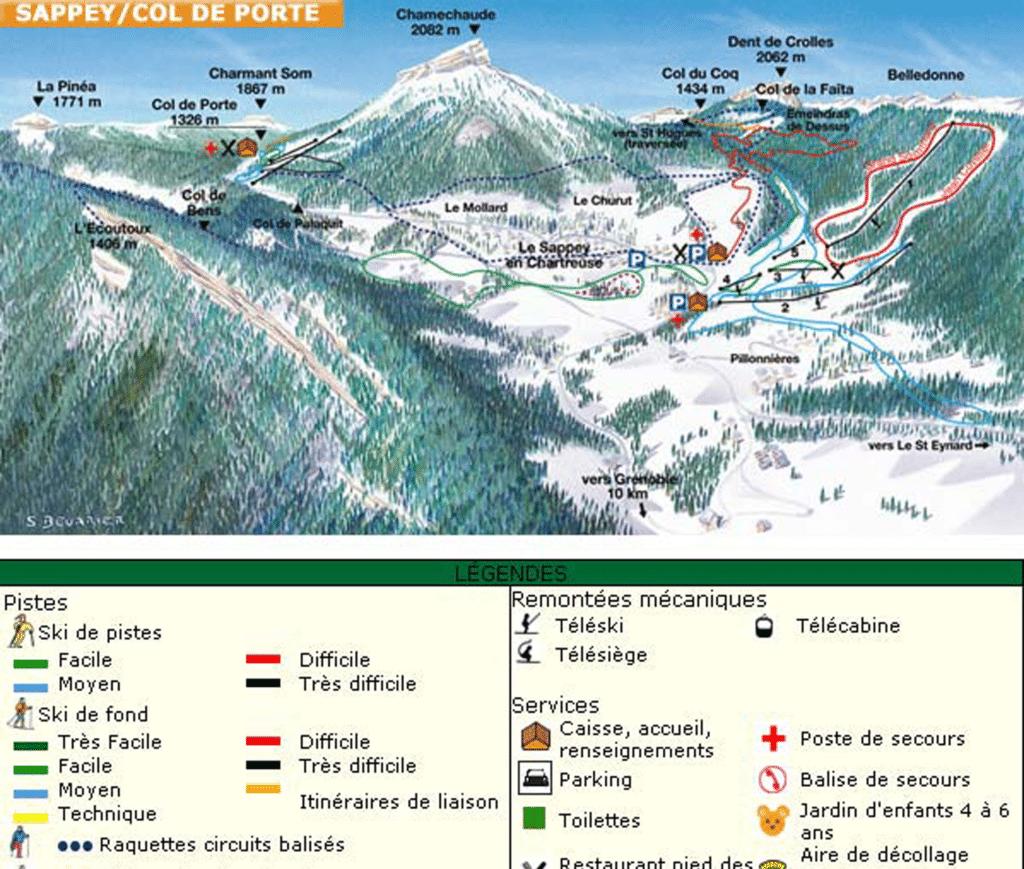 La sappey en chartreuse - Plan des pistes de ski de fond