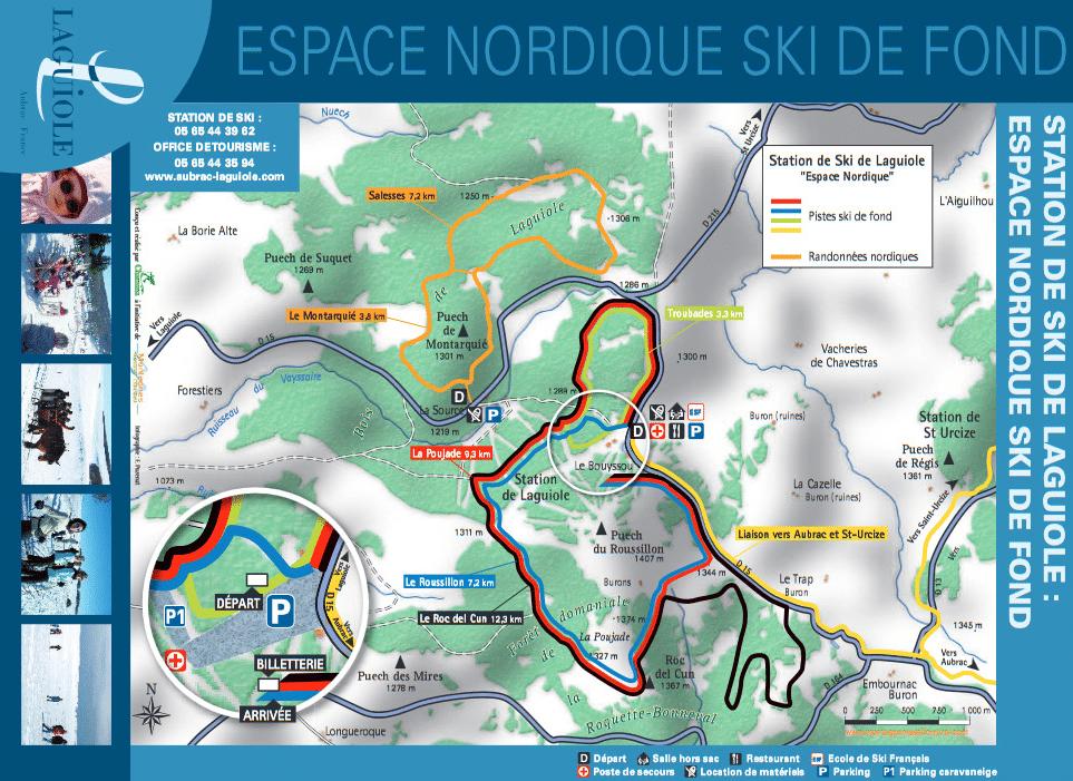 Laguiole - Plan des pistes de ski de fond