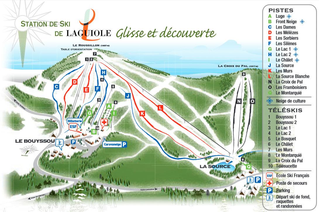 Laguiole - Plan des pistes de ski