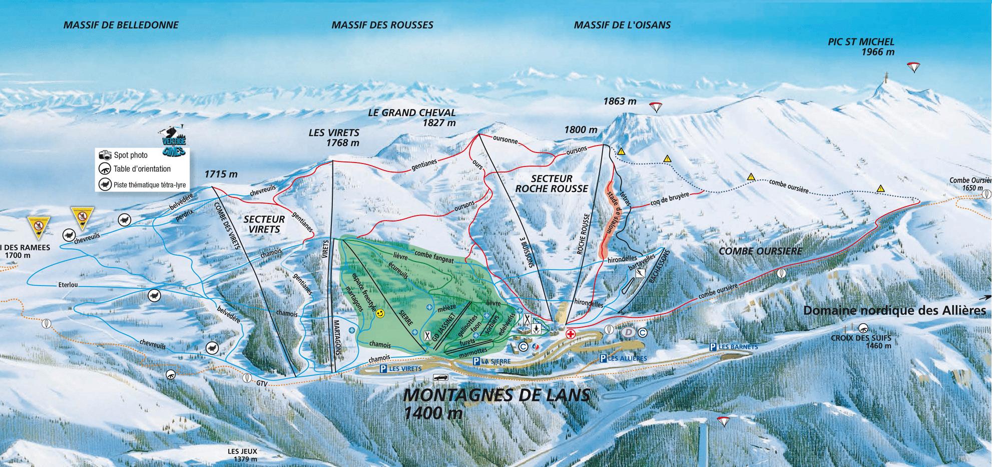 Lans en Vercors - Plan des pistes de ski