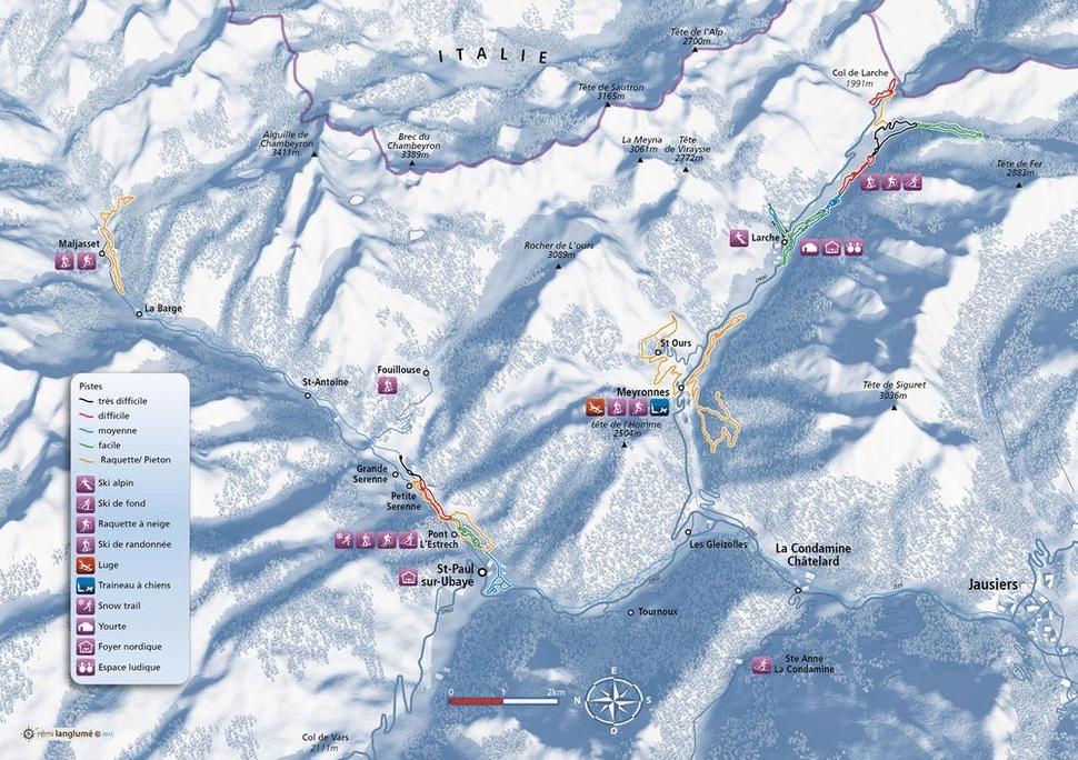Larche - Plan des pistes de ski de fond