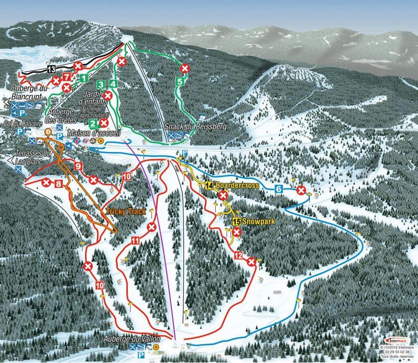 Le Lac Blanc - Plan des pistes de ski