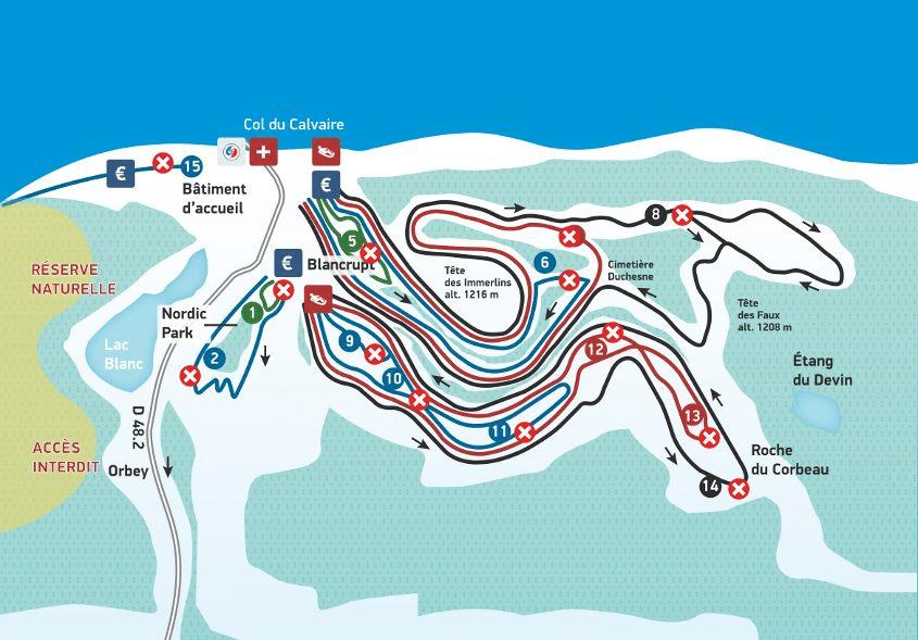 Le Lac Blanc - Plan du domaine nordique