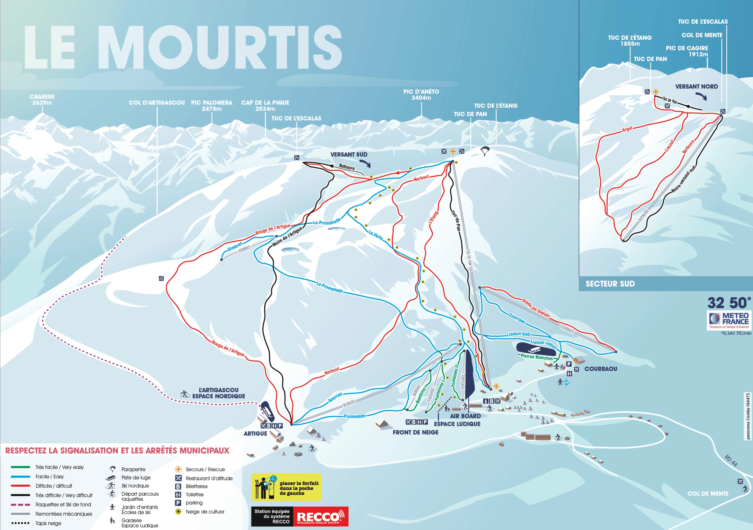 Le Mourtis - Plan des pistes de ski
