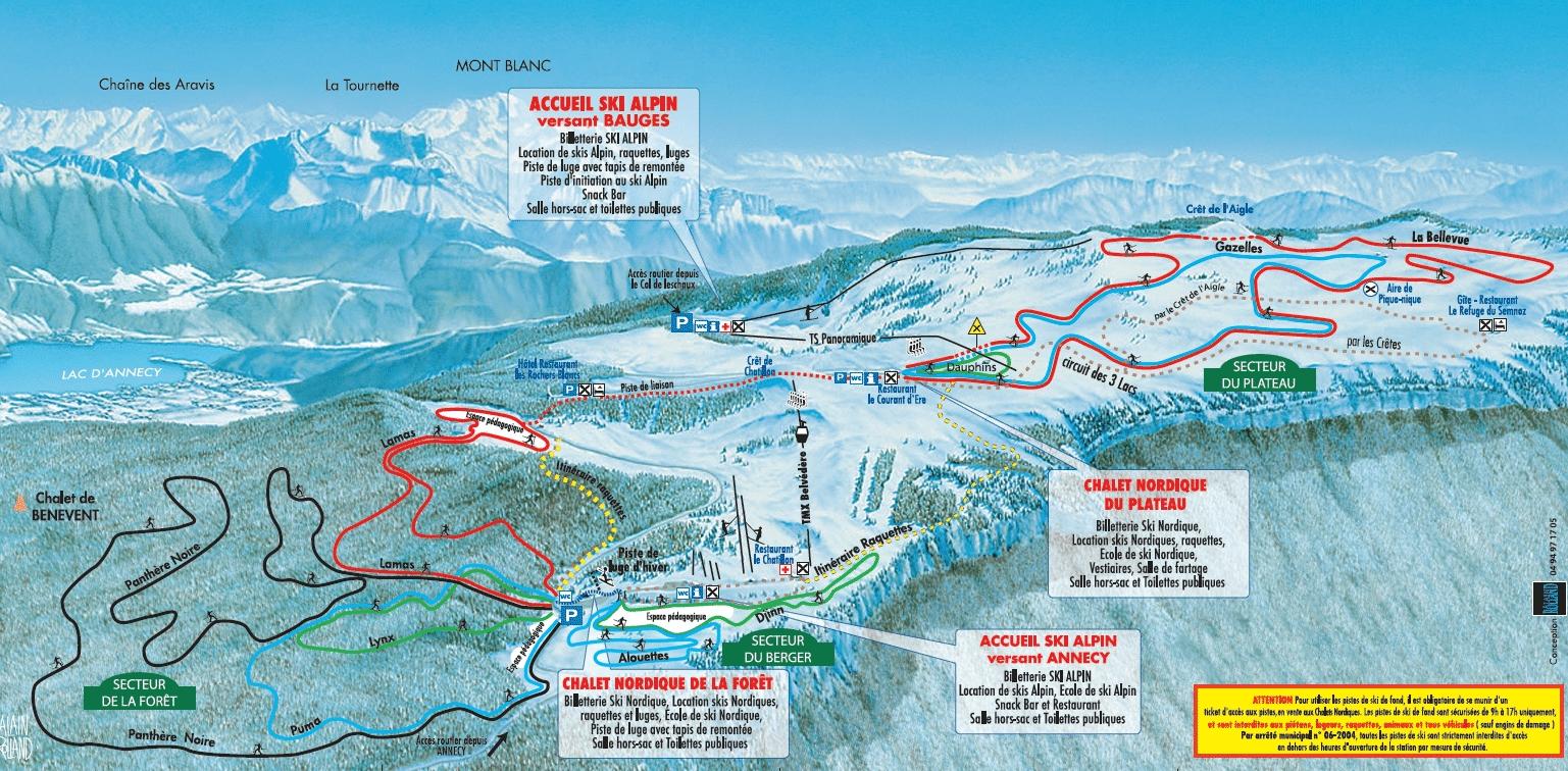 Le Semnoz - Domaine nordique et plan des pistes de ski de fond