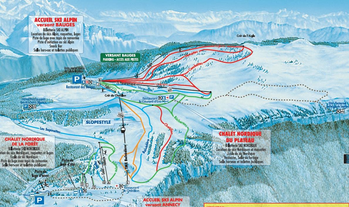 Le Semnoz - Plan des pistes de ski