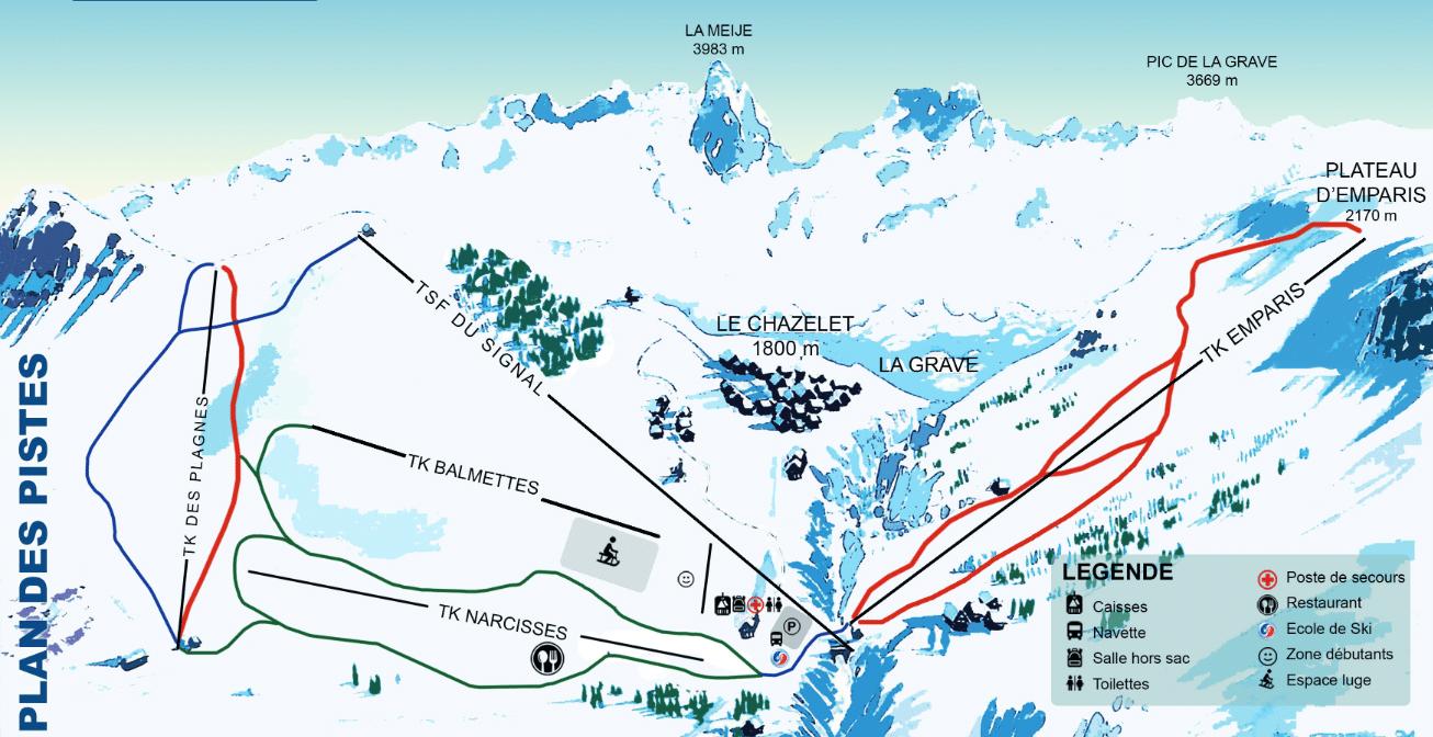 Le chazelet - Plan des pistes de ski