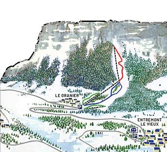Le granier - Plan des pistes de ski